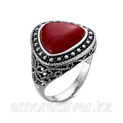 Кольцо Красная Пресня , стекло коралл иск., , треугольник 2339646Кр размеры - 18