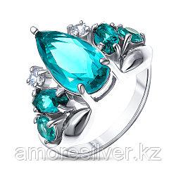 Кольцо Серебряный дождь серебро с родием, фианит кварц пл. парайба, многокаменка кр-057-5 размеры - 18,5