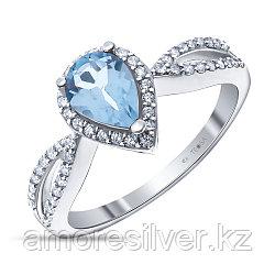 """Кольцо Teosa серебро с родием, топаз фианит, , """"halo"""" R-DRGR00733-Т размеры - 17"""