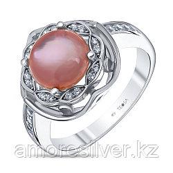 Кольцо Teosa серебро с родием, перламутр розовый фианит, круг F-OCC00065R-MOPP размеры - 17,5