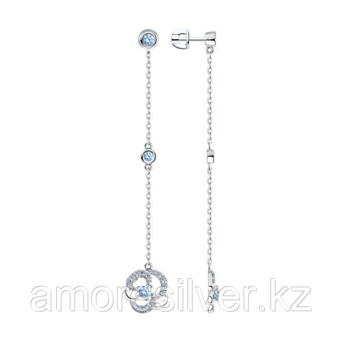 Серьги SOKOLOV серебро с родием, фианит , многокаменка 94023580