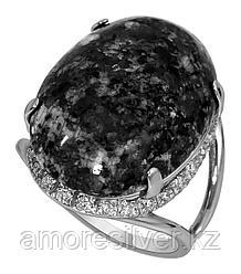 Кольцо Невский серебро с родием, кварц розовый фианит, овал 13521Р размеры - 16