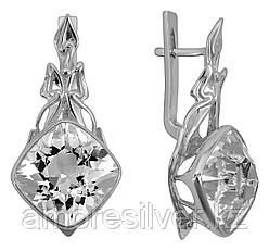 Серьги Невский серебро с родием, горный хрусталь, квадрат 43522Р