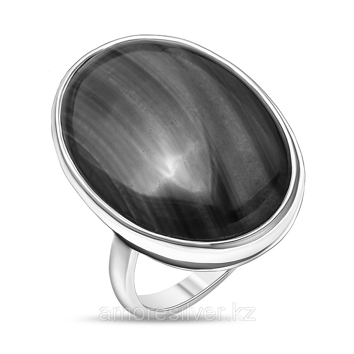 Кольцо Невский серебро с родием, малахит, овал 13160АР размеры - 18 19