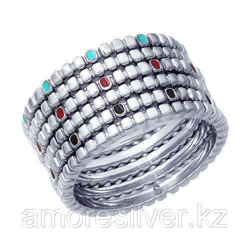 Кольцо SOKOLOV серебро с родием, эмаль, модное 94012687