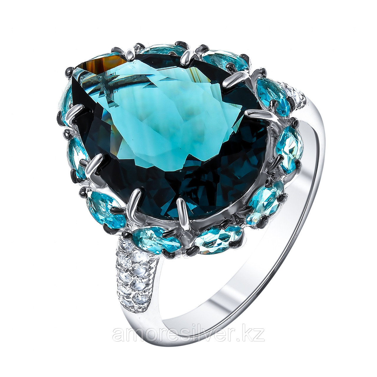 "Кольцо Teosa серебро с родием, фианит, ""halo"" 100-1182-TLC"