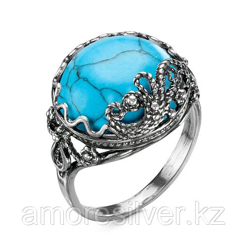 Серебряное кольцо с бирюзой синт.   Красная Пресня 23310050Б