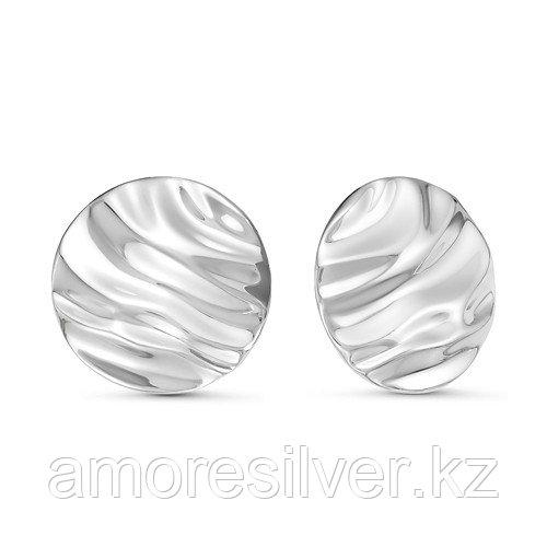 Серьги Delta серебро с родием, без вставок, круг с221125