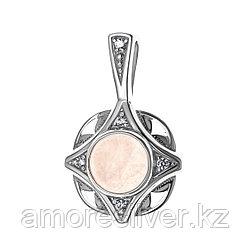 Подвеска  серебро с родием, фианит кварц розовый синт., , модное с300-1156-RQ