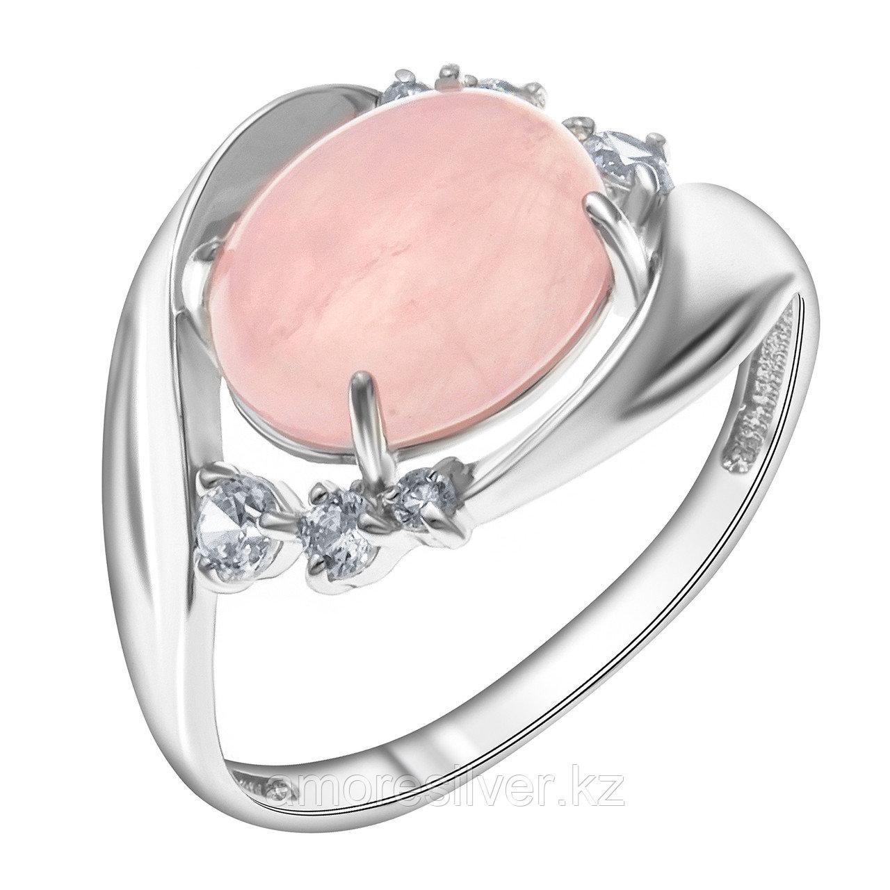 Кольцо  серебро с родием, кварц розовый фианит синт., , овал 1000-0418-RQ размеры - 17,5