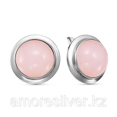 Серьги Красная Пресня , кварц розовый, с английским замком, круг 3339692ДК