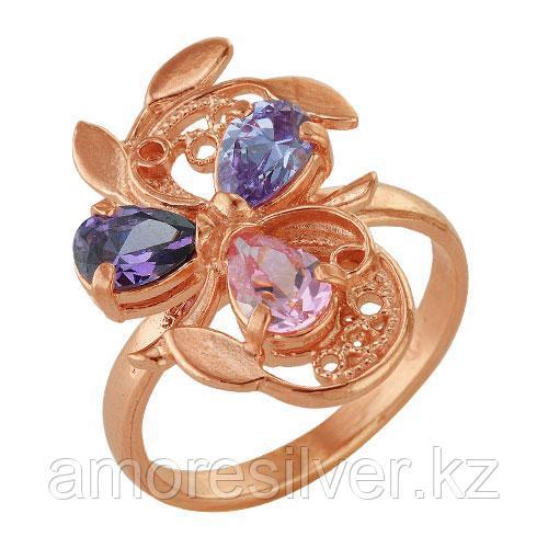 Кольцо Красная Пресня серебро с позолотой, фианит, многокаменка 2382565 размеры - 18,5