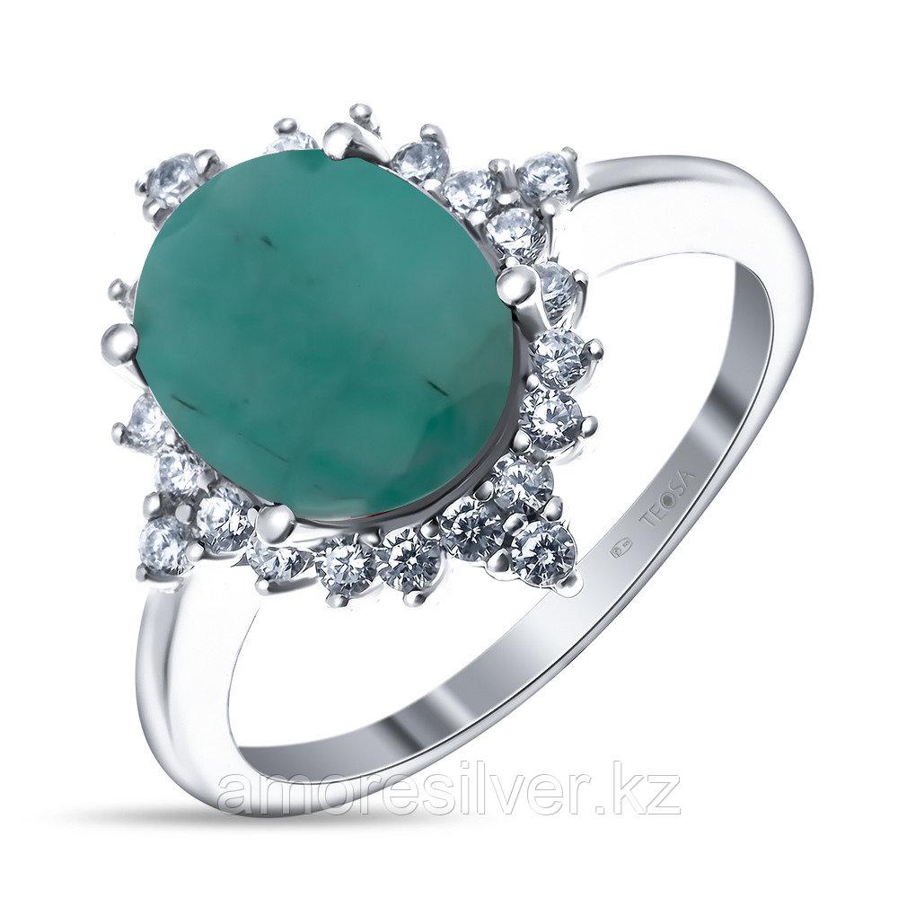 """Кольцо Teosa серебро с родием, изумруд фианит, """"halo"""" R-DRGR00694-EM"""