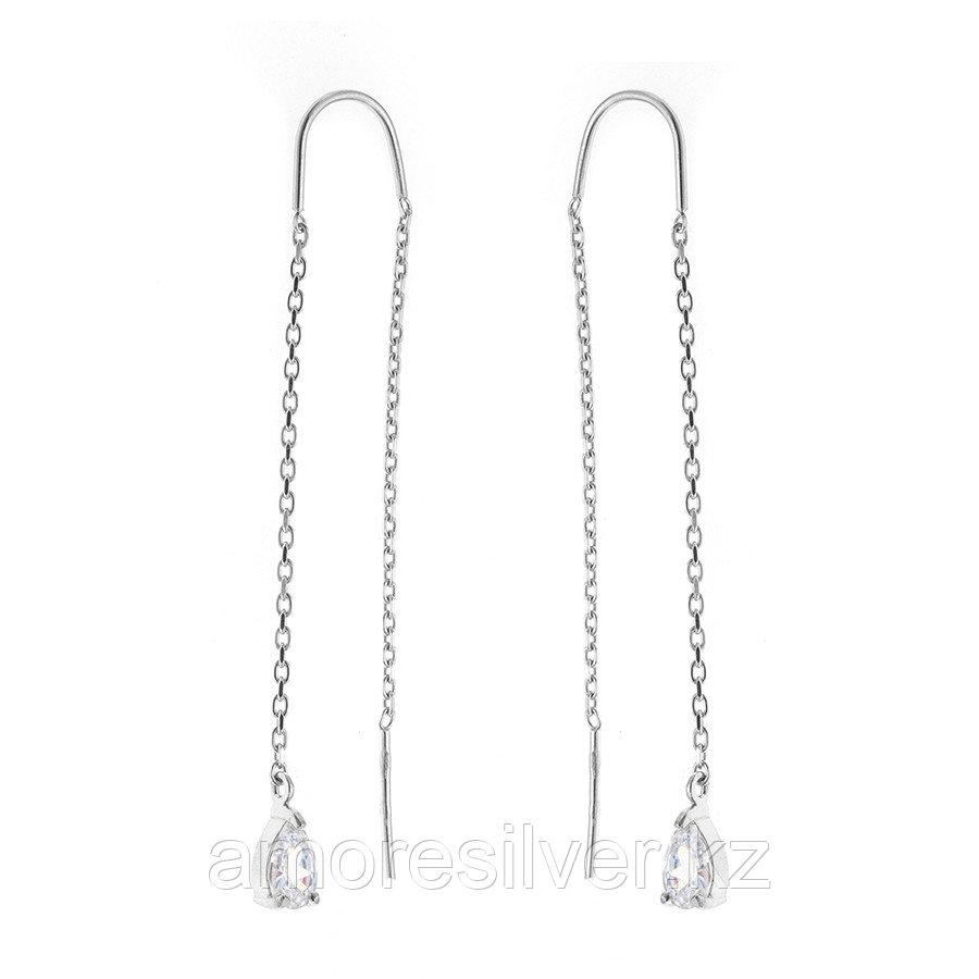 Серебряные серьги с фианитом   ЗОЛОТЫЕ КУПОЛА 0221281-00775