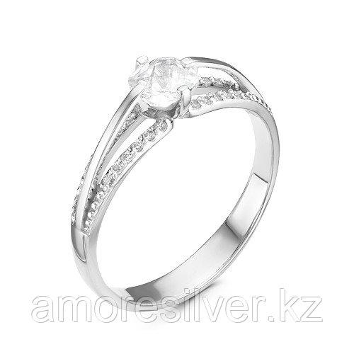 """Кольцо  серебро с родием, фианит синт., """"halo"""" 1000-0020"""
