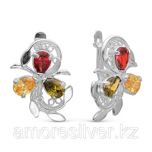 Серьги Красная Пресня серебро с родием, фианит, с английским замком, многокаменка 3382564б1