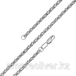 Цепь  серебро с родием, без вставок, ромб двойной 81030050040 размеры - 40