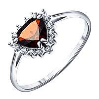 "Кольцо Teosa серебро с родием, гранат, ""halo"" К620-1737Гр размеры - 17"