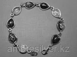 Браслет ЯНТАРНАЯ ЛАГУНА серебро с родием, янтарь зеленый, капля 7LB351 размеры - 18,5