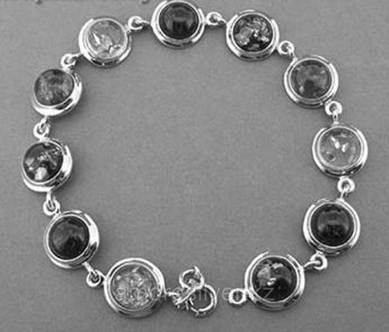 Браслет ЯНТАРНАЯ ЛАГУНА серебро с позолотой, янтарь микс, круг 4LB073 размеры - 18,5 20