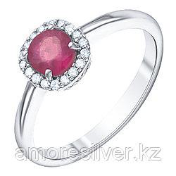 """Кольцо Teosa серебро с родием, рубин нат. (h) фианит иск., , """"halo"""" R-DRGR00530-RB размеры - 16,5"""