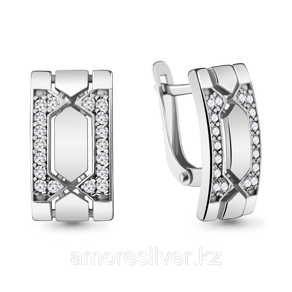 Серьги из серебра с фианитом   Aquamarine 48087А