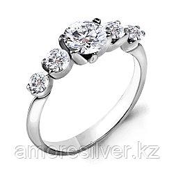 Кольцо Aquamarine серебро с родием, фианит, , дорожка 68218.5 размеры - 17 18