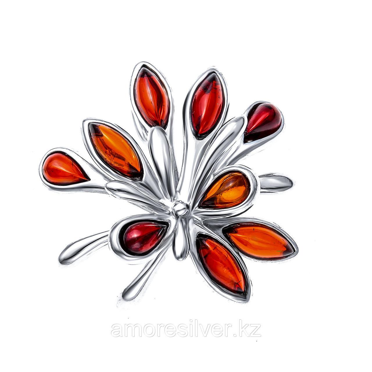 Подвеска Darvin серебро с родием, янтарь коньячный, флора 928041083aa