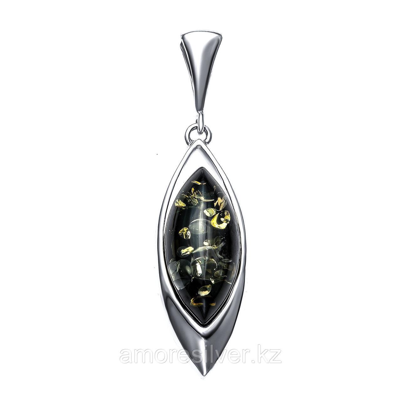 Подвеска Darvin серебро с родием, янтарь зеленый, классика 928011007ab