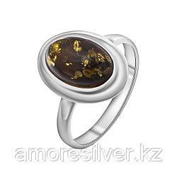 Кольцо ЯНТАРНАЯ ЛАГУНА серебро с родием, янтарь зеленый, овал 7LP352 размеры - 17,5 18,5