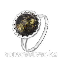 Кольцо ЯНТАРНАЯ ЛАГУНА серебро с родием, янтарь зеленый, круг 7LP386 размеры - 18 19