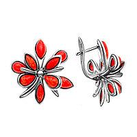 Серьги Darvin серебро с родием, коралл, с английским замком, цветы 929081083aa