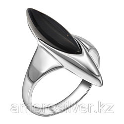 Кольцо  серебро с родием, агат черный, классика 920LB1313aa размеры - 18,5