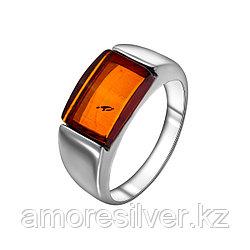 Кольцо ЯНТАРНАЯ ЛАГУНА серебро с родием, янтарь, квадрат 7LP224 размеры - 17,5