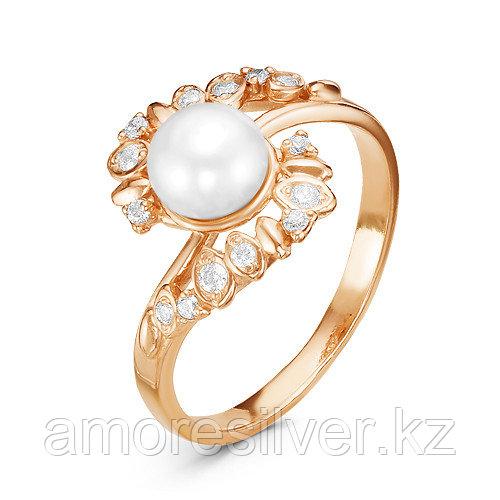 Кольцо Красная Пресня серебро с позолотой, жемчуг фианит 2339869 размеры - 18