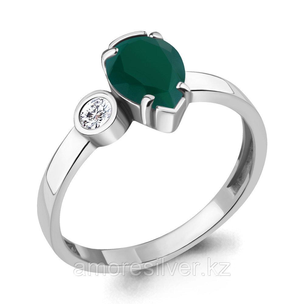 """Кольцо Aquamarine серебро с родием, агат зеленый фианит, """"halo"""" 6922009А.5 размеры - 16,5"""