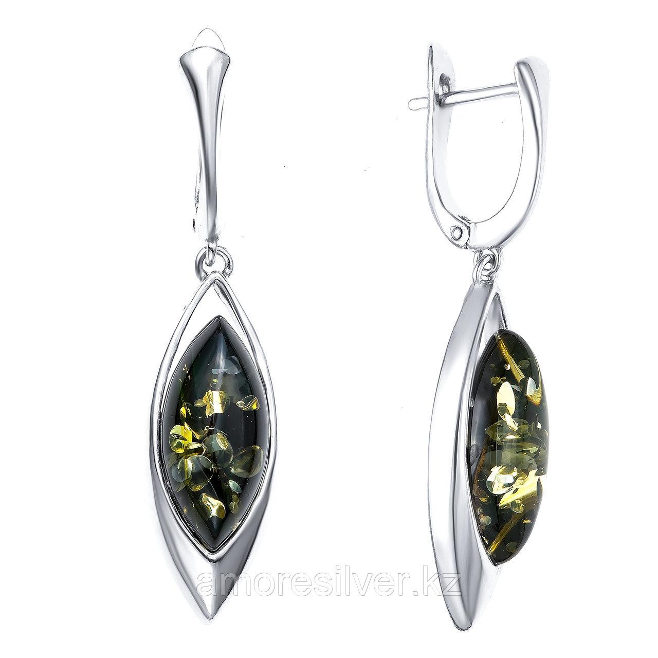 Серьги Darvin серебро с родием, янтарь зеленый, классика 929011007ab