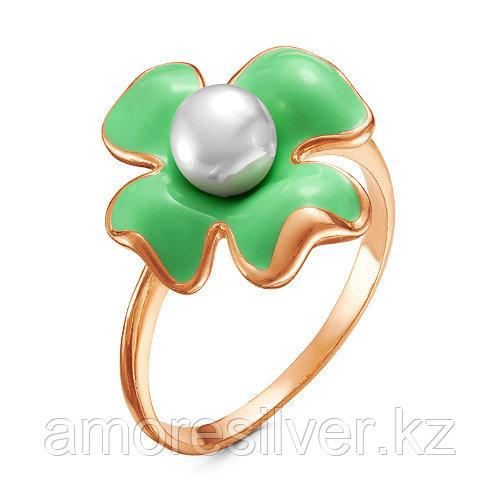 Кольцо Красная Пресня серебро с позолотой, жемчуг имит., флора 2368643-7 размеры - 18,5 19