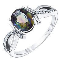 """Кольцо Teosa серебро с родием, """"halo"""" R-DRGR00750-MQ размеры - 16,5"""