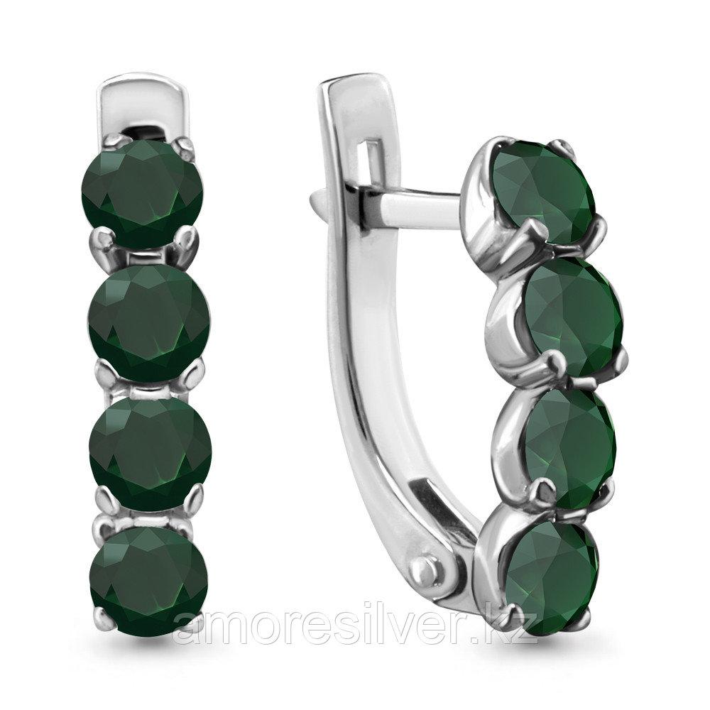 Серьги Aquamarine серебро с родием, агат зеленый, с английским замком 4416009.5