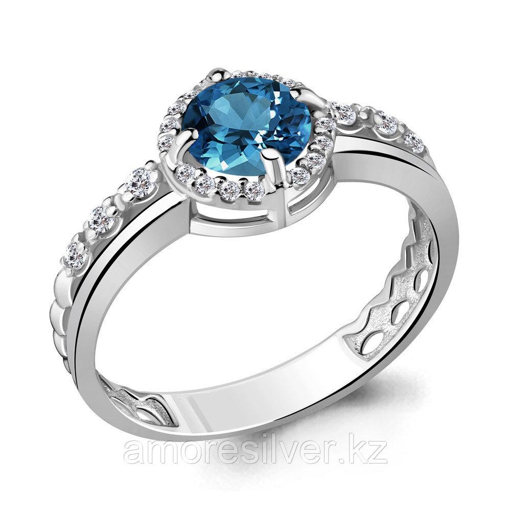 """Кольцо Aquamarine серебро с родием, топаз лондон фианит, """"halo"""" 6449208А.5 размеры - 17"""