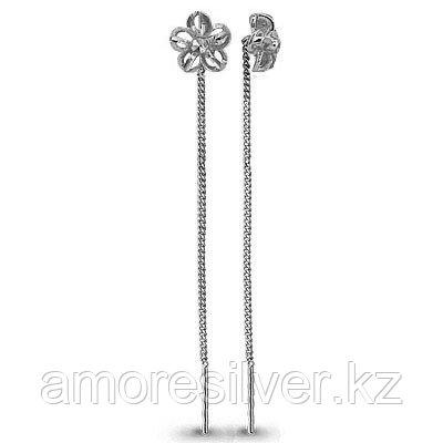 Серьги Aquamarine серебро с родием, без вставок, продевки, флора 30801