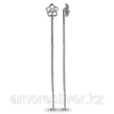 Серьги Aquamarine серебро с родием, без вставок, продевки, флора 30808