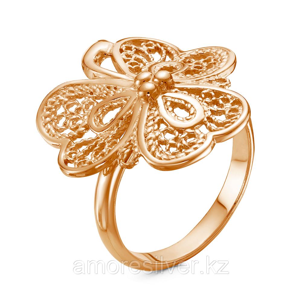 Кольцо Красная Пресня серебро с позолотой, без вставок, флора 23010959 размеры - 18,5