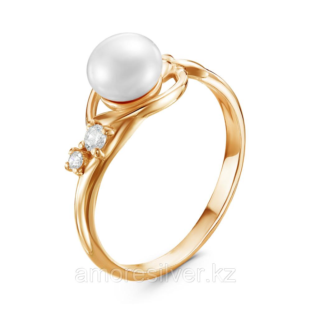 Серебряное кольцо с фианитом и жемчугом культ.  Красная Пресня 23310865Д