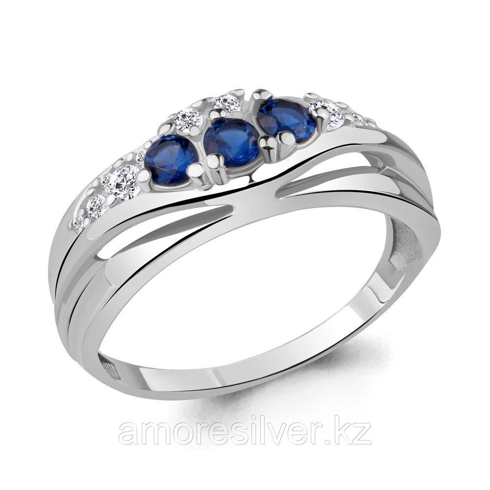 Кольцо Aquamarine серебро с родием, сапфир фианит 64828Б.5 размеры - 17,5