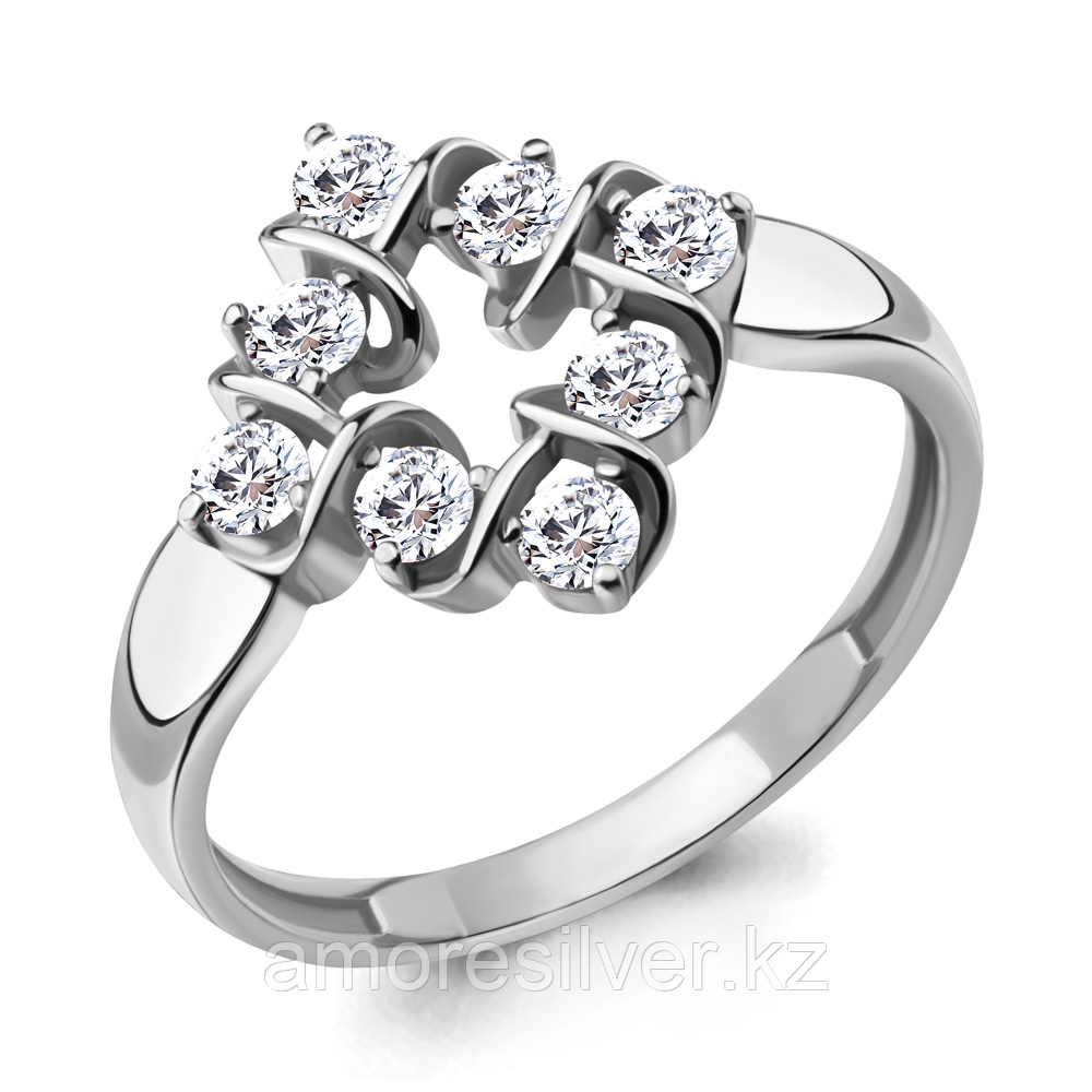 Кольцо Aquamarine серебро с родием, фианит, фантазия 68705А.5 размеры - 17