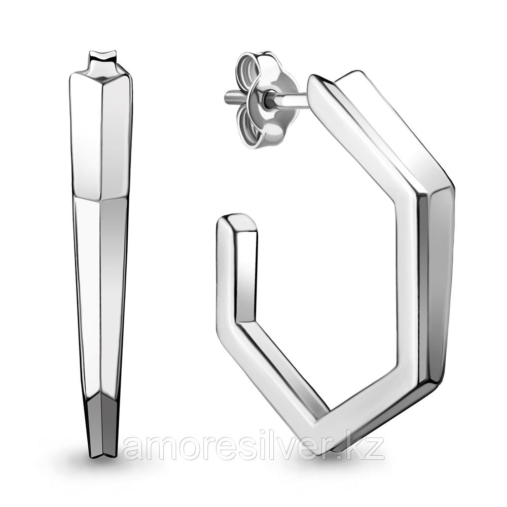 Серьги Aquamarine серебро с родием, без вставок, штифтовой замок, геометрия 33700.5