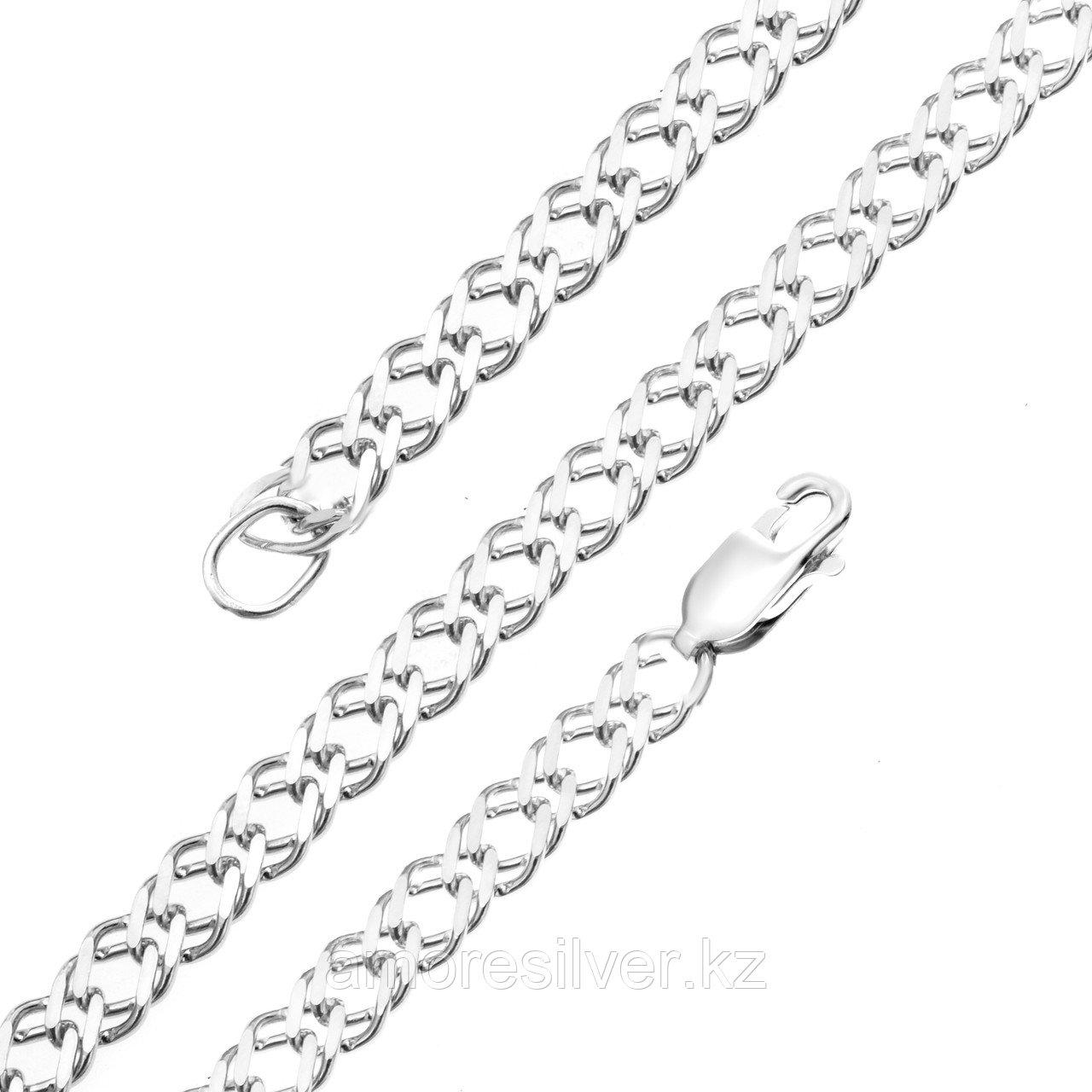 Цепь Красцветмет серебро с родием, без вставок, ромб двойной НЦ 22-076-3-120 размеры - 50 55 60