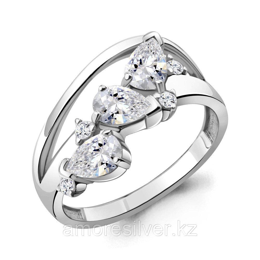 Кольцо Aquamarine серебро с родием, фианит, фантазия 68693А.5 размеры - 17 17,5